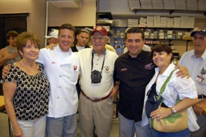 Paul Takahashi/ Hoboken Now, Mary, Joe and Buddy (l-r) of the Valastro family poses for pictures with Anthony Vanacore, center, xPOW and a fellow WW2 Veteran, right.