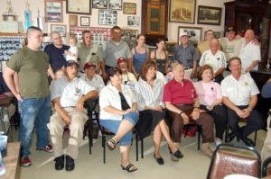 Paul Takahashi/ Hoboken Now, Hoboken Mayor Dawn Zimmer,front row, 2nd from left, sits with veterans at a luncheon hosted by the city's fire department on Sunday, 16Aug09. Hoboken's Fire Department hosted lunch for six Iraq War veterans who visited Hoboken on Sunday as part of the Wounded Warrior Project.