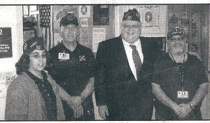 "Leslie, Tommy, Jose, VFW NY State Commander Haight (2nd from right) took time to recognize 3 VAVS volunteers with a certificate which reads: "" In appreciation for providing assistance & support for Veterans in need..."""