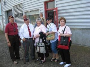 Photo taken by Anthony Vanacore, on Aug.16, 2009 at MANHATAN FIREBOAT pier on our way to Hoboken, NJ where six Wounded Warriars were to be honored by the Hoboken Fire Department and Mayor at luncheon at Fire Museum.  Former POW's from WW2 were proud to be in the group honoring them. left to right Sal Grasso, Ralph Abbondanza, Catherine Abbondanza, Toni Vanacore [Anthony's daughter], and Mary Grasso